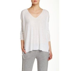 Theory Larlissa Linen Blend White Sweater V-Neck